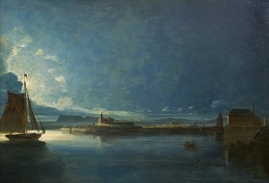 Peder Balke (1804-1887): Utsyn over Christiania sett fra Ekeberg, måneskinn