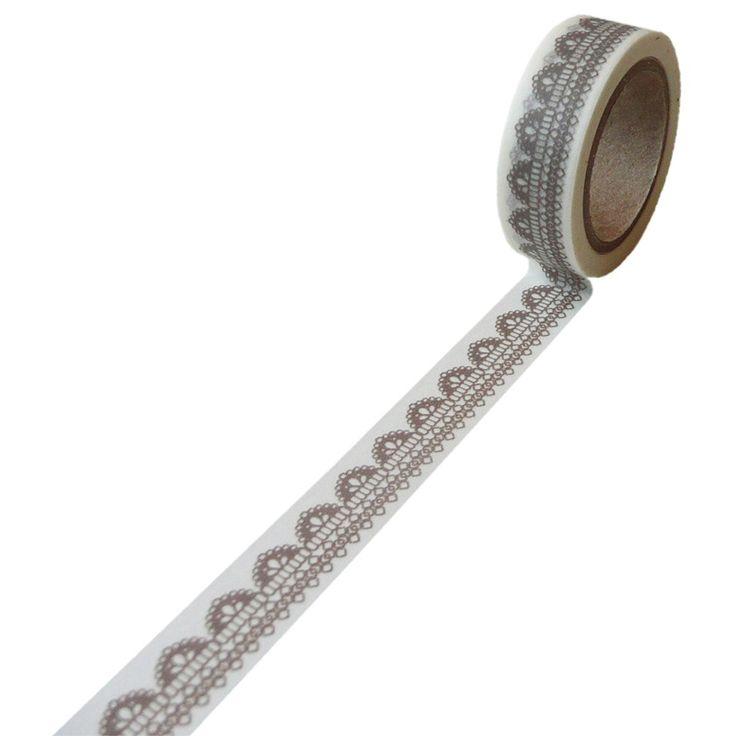 Washi biała w beżową koronkę 15 mm x 10 m