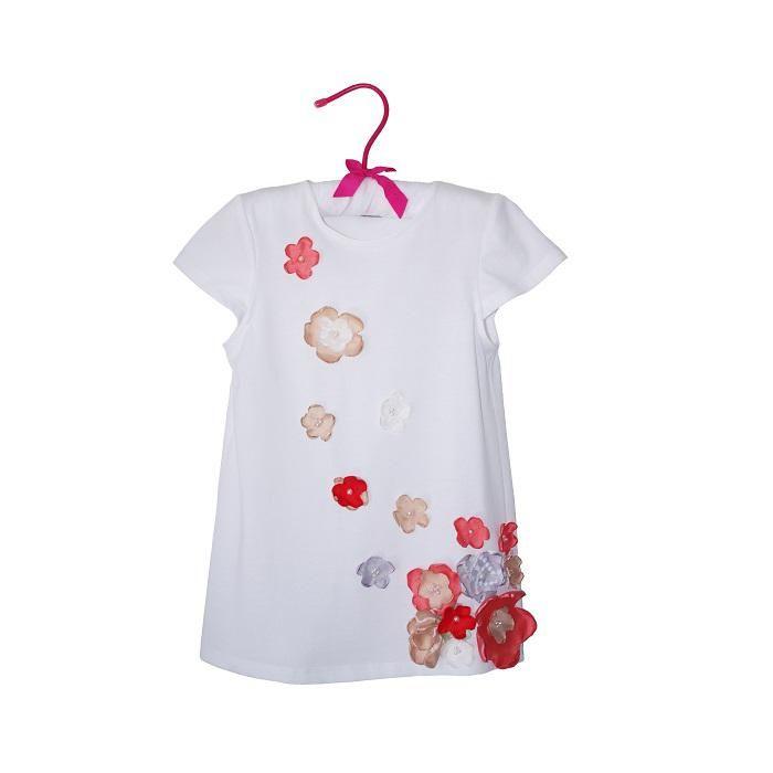 Tricou alb cu flori lucrate manual