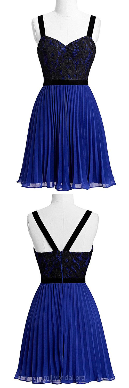 Cheap Royal Blue Prom Dresses,A-line V-neck Party Gowns, Lace Graduation Dress,Chiffon Short/Mini Homecoming Dresses,Pleats Formal Evening Dresses