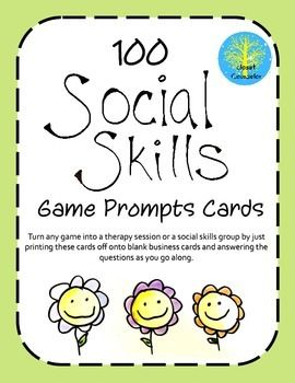 This set includes 100 game prompts and a quick overview of how they can be used. They are ready to be printed on card stock and are a tool that can be used over and over with many different children.It is an old trick to make mainstream games and turn them into social skills activities.