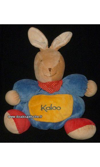 doudou lapin boule jaune bleu kaloo www.doudoupeluche.fr