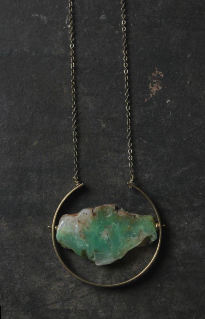 Stunning Mint Green Chrysoprase Littles Necklace Free Ship Unique Talisman Good Luck Minimalist