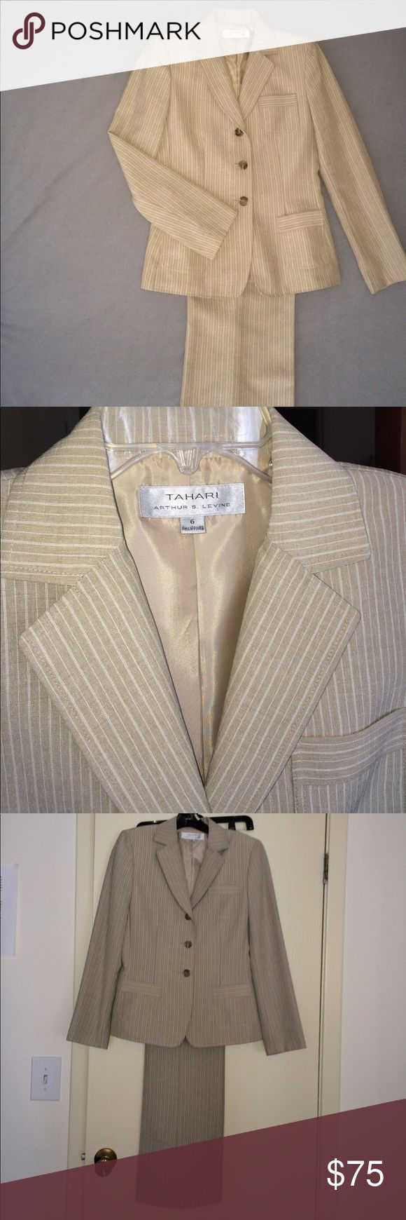 TAHARI 2pc women's pant suit TAHARI  2 pic pant suit , color Tan with pin strips.  3 button single breasted jacket, top pocket and 2 front pockets. Pant front zipper waist has button and snap closure  Size 6  ( New ) never worn . Great suit for the office or any day! TAHARI Other