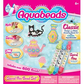 This set comes with three fun and easy to use Spiral Bead Pens. Each Spiral Bead Pen holds two different color beads. This set allows you to make amazing bead art creations using Classic Aquabeads. Build the colorful teapot and teacup, or the black and white kitty. Flip the templates over and design your own. Comes with over 500 classic beads and 3 Spiral Bead Pens.
