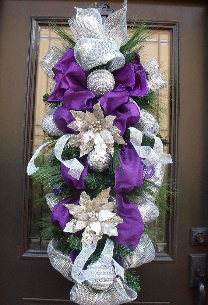 Purple and Silver Christmas Swag, Christmas Wreath, Silver & Purple Teardrop, Glamorous Christmas Decor by LuxeWreaths on Etsy https://www.etsy.com/listing/205065239/purple-and-silver-christmas-swag