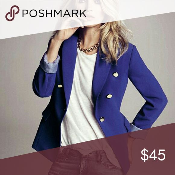 MANGO Royal Blue Blazer with Gold Buttons Royal blue blazer with gold buttons. Great piece to add to your work wardrobe or fun to give a casual outfit that perfect amount of edge. Like new, worn once. Mango Jackets & Coats Blazers