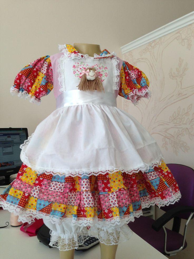 Vestido Caipira Avental BABY   DA LILI STORE BABY   Elo7