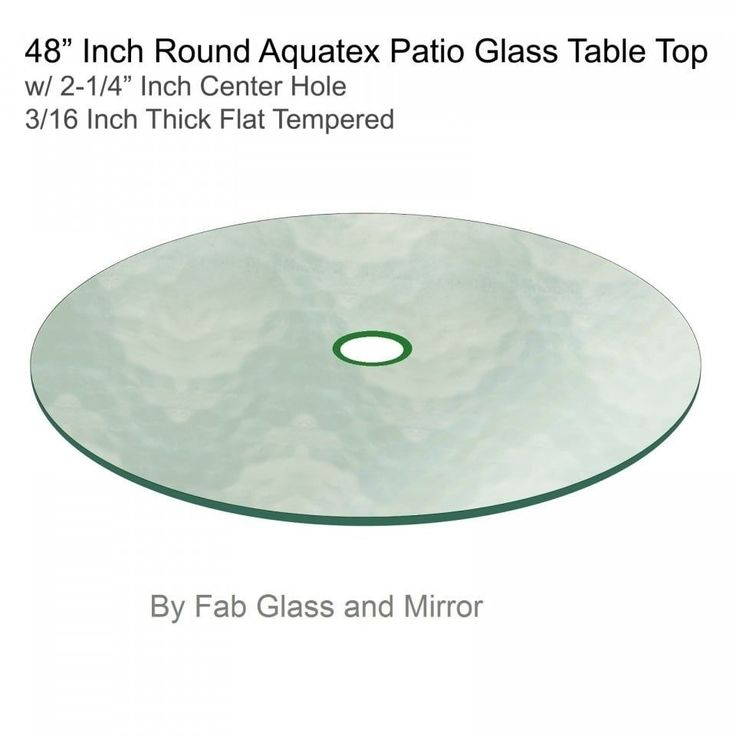 Aquatex Patio Round Glass Table Top Flat Tempered W/ 2 1/4 Hole
