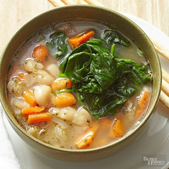 A fast, healthy soup recipe from ingredients found in your pantry! Use frozen vegetables, canned bean and broth to make a quick meal.