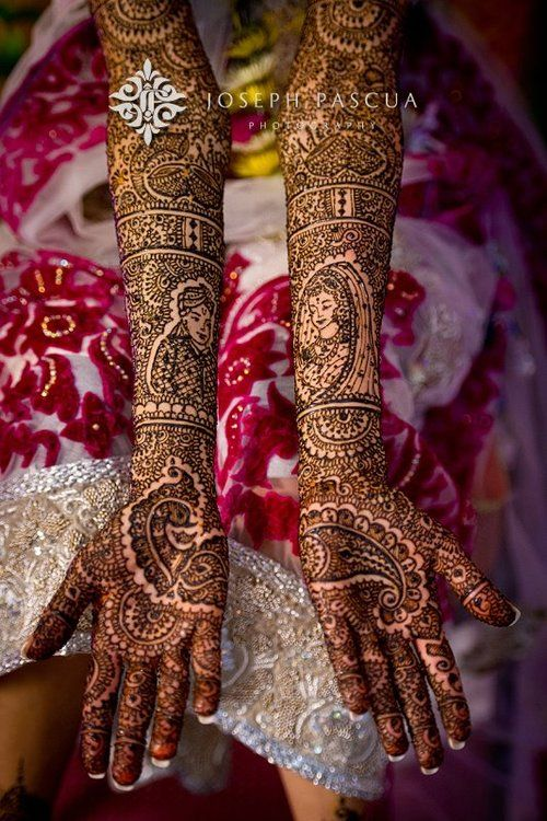 gorgeous mehndi--love the design minus the bride and groom #BridalHenna