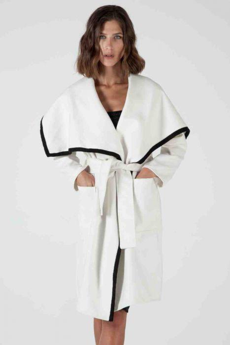 Shawl-collar trimmed crochet coat