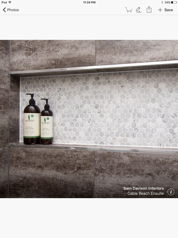 Hexagon mosaic in shower niche