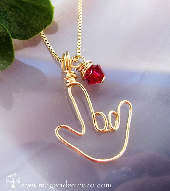 I LOVE YOU, American Sign Language Necklace, Birthstone Necklace #Etsy #ASL