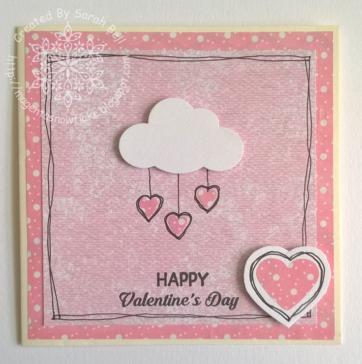 Designed by Sarah Bell for Fiskarettes UK using Fiskars Squeeze Cloud punch and Intricate Heart Border Punch