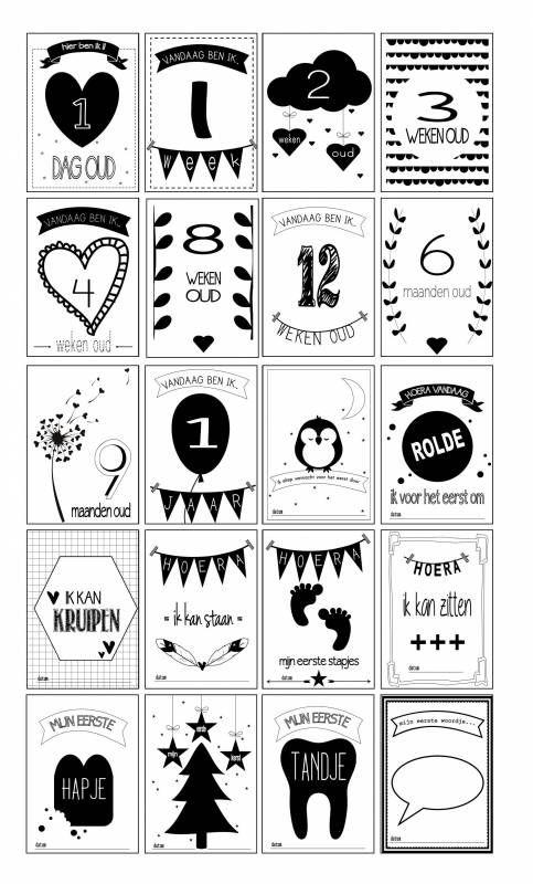 Designed 4 Kids mijlpaal kaarten Black/White 20 stuks