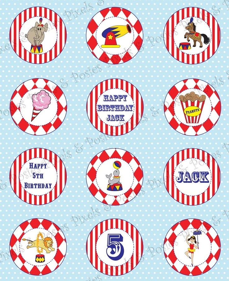 Custom Cupcake Toppers - Print Your Own Circus Birthday Party