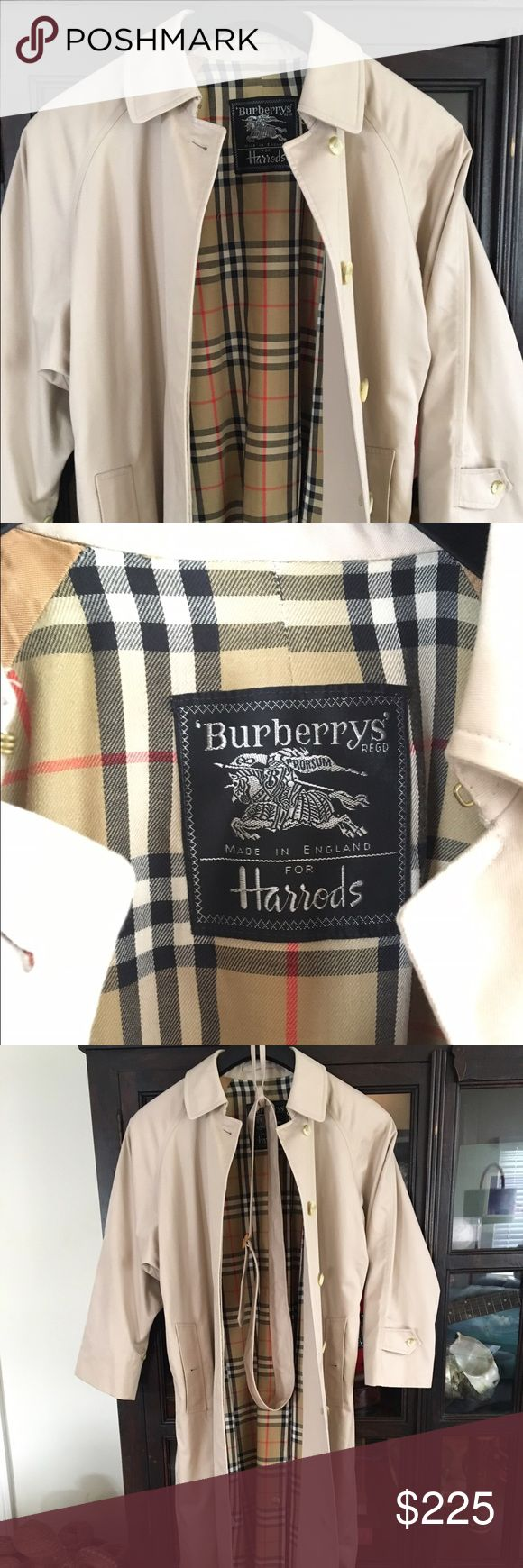 Burberry Classic Women's Rain Coat, Trench Coat The best way to get through depressing April Showers? In the most fabulously chic and iconic raincoat of all time, that's how.  This iconic 100% authentic Burberrys London coat has hidden buttons for a sleek look, long sleeves (that are wide enough to roll up if you want to get playful and show some plaid), a kick pleat in the back that can be buttoned closed and, of course, the iconic Burberrys Prorsum Tartan that gives every bona fide fashion…