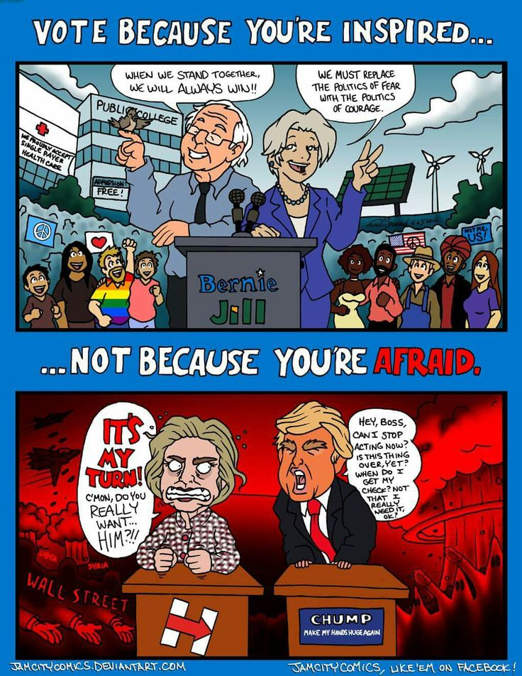 Jill Stein is featured with Bernie Sanders in a cartoon by Juan Spearman, Jam City Comics.