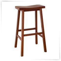 Winsome Wood Inch RTA Single Saddle Seat Bar Stool Walnut