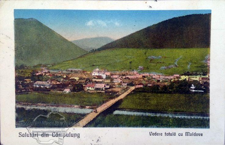 Câmpulung. Plasa Moldova. Oraşul Câmpulung Moldovenesc. Salutari din Câmpulung Moldovenesc. Vedere totală cu Moldova. 1926