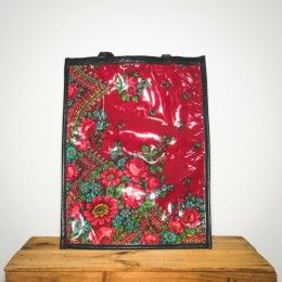 Red floral and leather bag unique design
