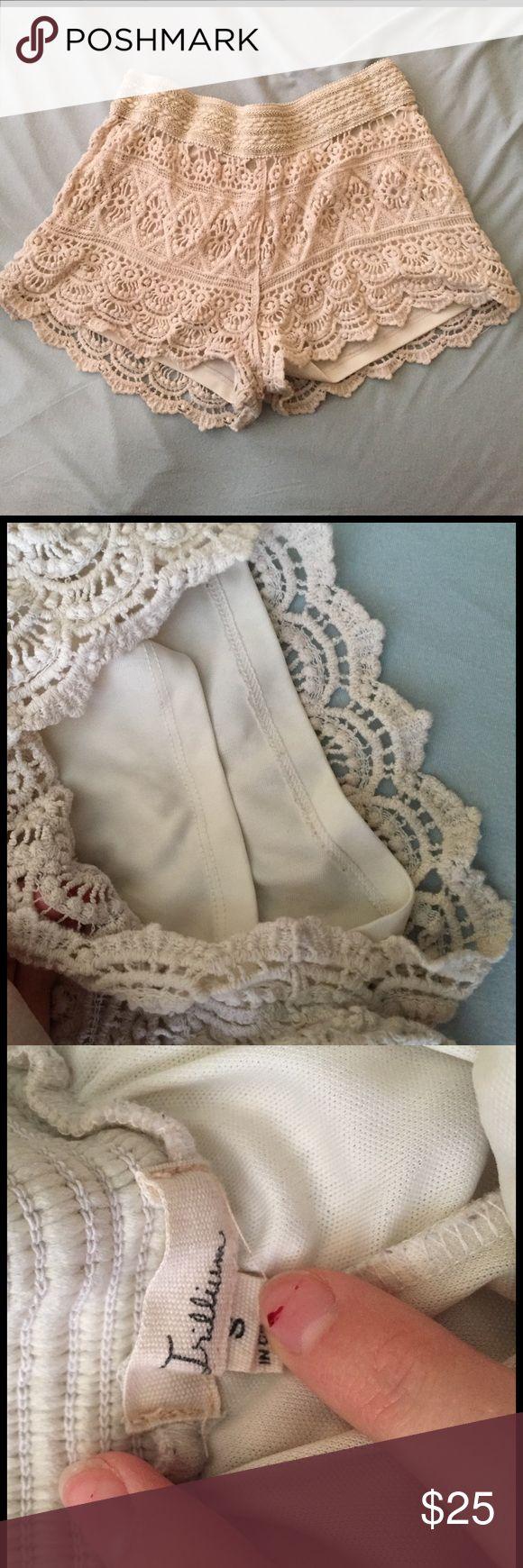 Cream Shorts With Spandex Waist Crochet, Super Comfy, Stretchy zumiez Shorts