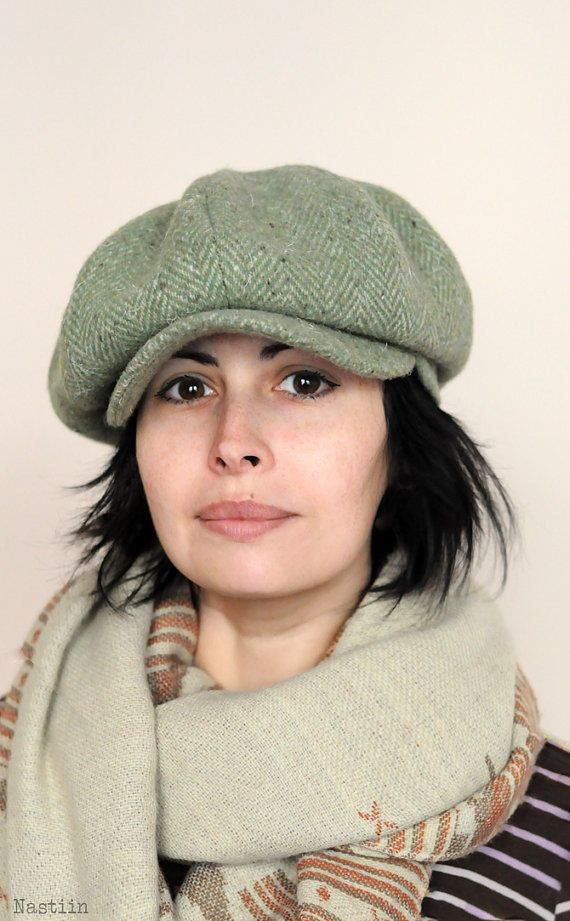 Winter Newsboy Hat Green Wool Hat Mens Newsboy Cap