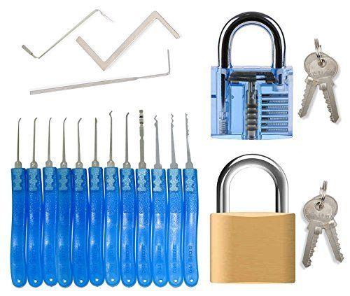 Kit de crochetage serrures pour débutants et professionnels - 15 pièces pour crochetage de serrures comprenant 12 crochets et 3 clés…