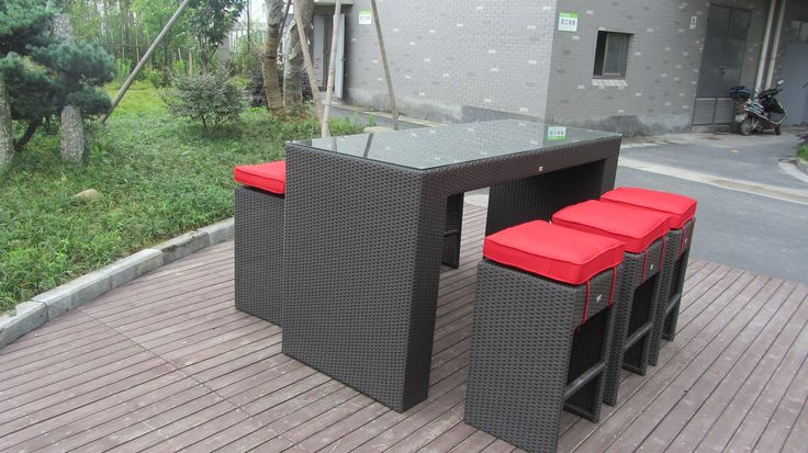 Luxor Bar Set! Bar Table with 8 mm Glass. 6 Bar Stools with our Jockey Red Sunbrella Fabric.