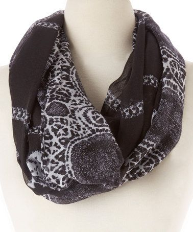 Look what I found on #zulily! Black & Gray Abstract Infinity Scarf #zulilyfinds