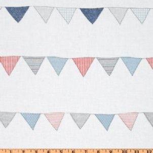 Michael Miller fabric Indigo Red Bunting Stripe Denim
