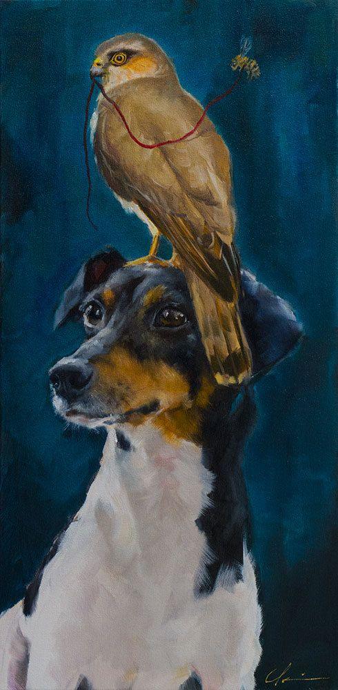 Imaginary+Realism+Rat+Terrier+Dog+Hawk+door+ClairHartmannFineArt,+$900.00
