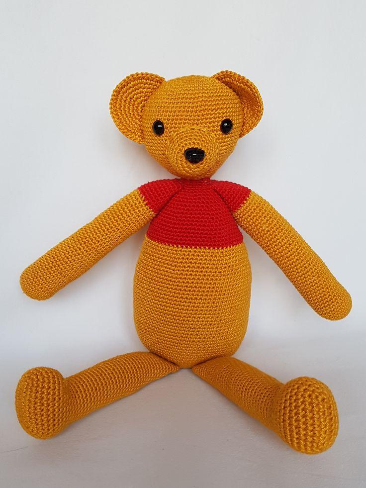 Crochet bear. Miś zrobiony na szydełku. hand made dolls bear cotton crochet toy gift girl miś lalki szydełko zabawka ręczna praca ręczne robótki bawełna