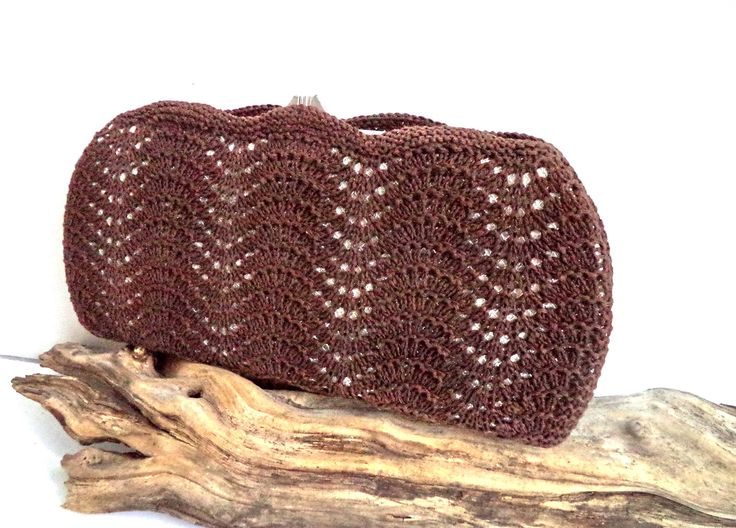 60's Brown Crochet Clutch Frame Bag Retro Mod Wristlet Silver Chrome Clasp Chain Evening Handbag GoGo Girl Party Gift by MushkaVintage3 on Etsy