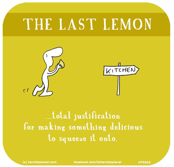 The last lemon: Total justification for making something delicious to squeeze it onto.