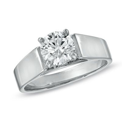 {classic} Certified Diamond Solitaire Engagement Ring in 14K White Gold