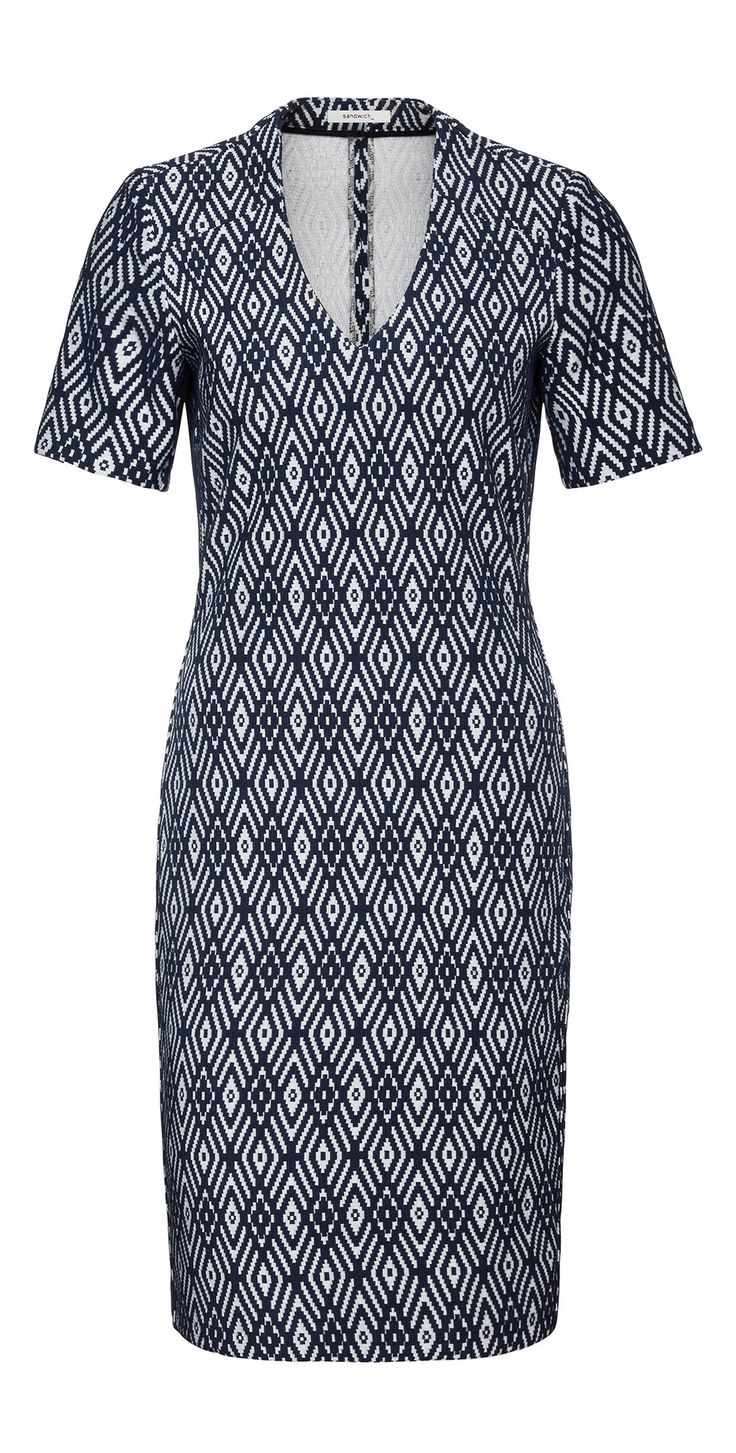 SANDWICH CLOTHING DIAMOND JACQUARD STRETCH DRESS - MOOD INDIGO