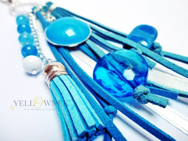 BLUE EYES Handmade bag charm/keyring. Mix of leather, glass cabochon, chains glass/ceramic/wood/plastic beads and satin ribbon.