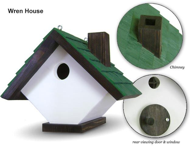 "Large Wrenhouse: featuring a rear viewing door, rear window, chimney and splintered roof shingles (inline). Dimensions are 7 3/4""h x 9""w x 7 3/4""d. Entrance hole is 1 1/4"" diameter. Built from cedar wood and held together with Titebond II Weather proof wood glue and long fastener screws.This style can be hung from a tree or displayed by sitting it on it's base."