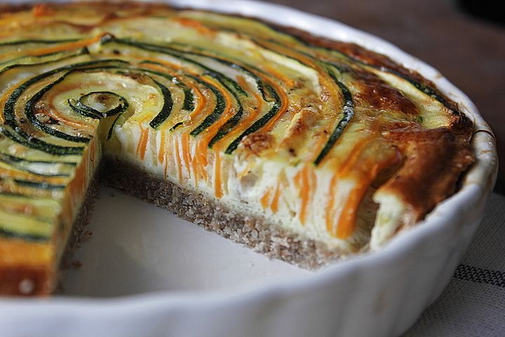 Vegetarian Quiche with Zucchini and Carrot by krissers-cookiecrumble.blogspot.dk/: Healthy veggies in a family friendly format! #Quiche #Zucchini #Carrot