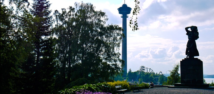 Tampere: The Näsinneula Observation Tower, which stands at 168m and is the tallest observation tower in the Nordic countries, and has an excellent restaurant at 124m open throughout the year. Photo © Discovering Finland