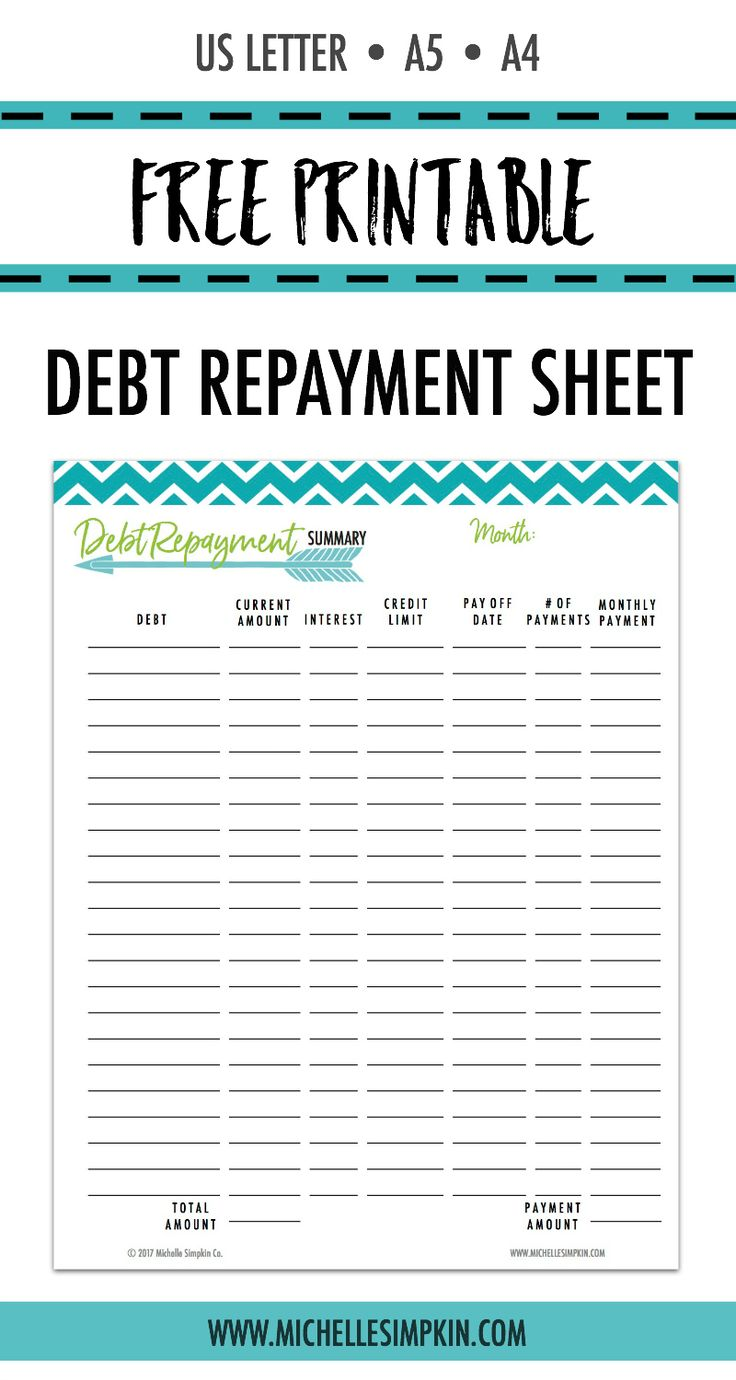 FREE PRINTABLE! Grab it without needing to give your email address :) Use this free printable to keep track of all your debt, how much you owe, and what payments you can make to pay to off quicker. Click the photo to get yours!