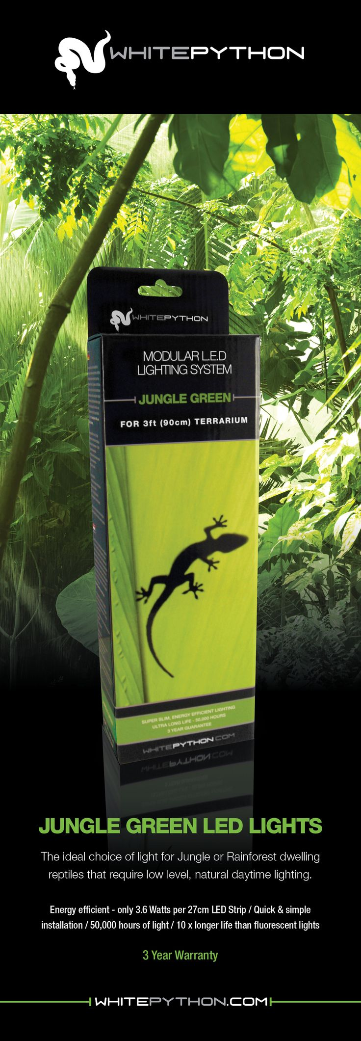 Jungle Green LED Lights for Reptiles. Perfect for creating natural looking rainforest reptile setups.