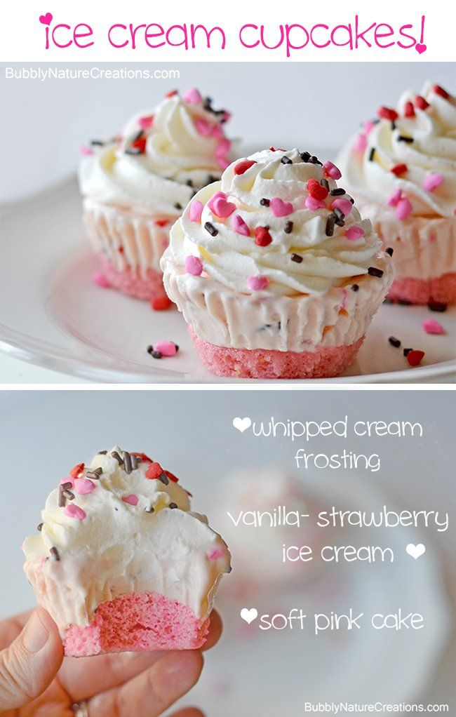 Ice Cream Cupcakes {Pretty in Pink}!  Make these for a party and you wont have to scoop ice cream or cut cake when it comes time to serve!