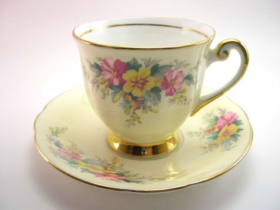 Antique Windsor Yellow Tea Cup & Saucer Light by AntiqueAndCrafts, $50.00