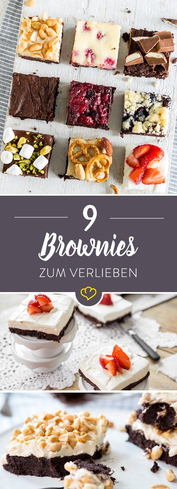 Schokolade in einem Wort: Brownies! Schokolade in zwei Worten: Erdnussbutter-Brownies. Schokolade in drei Worten: Himbeer-Cheesecake-Brownies. Schokolade in … acht Worten: Die besten Brownies, die du je gegessen hast. Brownies sind nämlich nicht einfach nur flüssige Schokolade – nein. Brownies sind Schokolade, Karamell, Marshmallows, Brezeln, Blaubeeren, Erdbeeren, Frischkäse, Pistazien, Mandeln, … – ziemlich geniale Süßigkeiten eben. 1 Grundrezept, 9 Varianten – für jeden Tag eine. Und für…