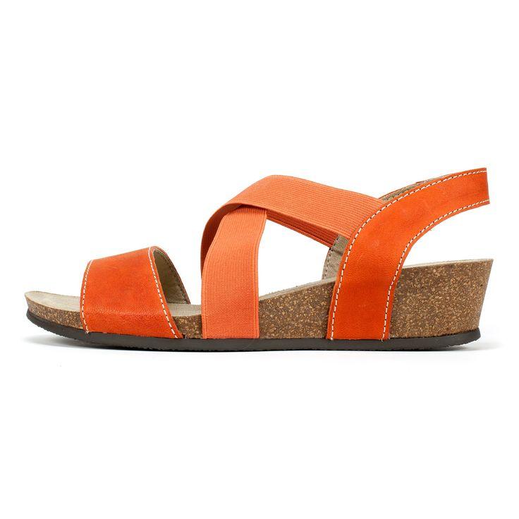 White Mountain Shoes Carlisa Orange Leather Sandal
