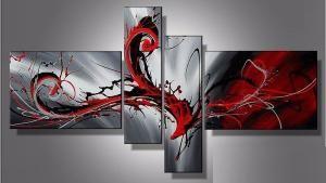 Tableau moderne rouge et noir abstrait