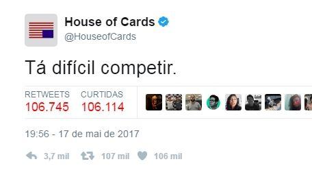 'Tá difícil competir' - 'House of Cards' faz piada com situação política do Brasil